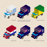 Set of isometric 3d cargo. Trucks with flags of South America countries. Cars with standards - Uruguay, Paraguay, South Georgia, French Guiana, Saint Helena Royalty Free Stock Photo