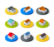 Set of isometric 3D. Icons house home. Residence building the city landscape three-dimensional vector symbol concept Royalty Free Stock Image