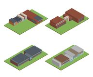Set of Isometric and 3D of modern office, school building and ar royalty free stock photography