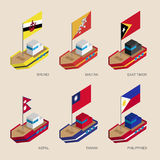 Set of isometric 3d ships with flags of Asian countries Royalty Free Stock Image