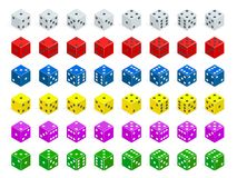 Set of isometric dice combination. White, red, yellow, green, blue and purple poker cubes vector isolated. Royalty Free Stock Photography