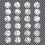 A set of isometric dice. Twenty-four variants loss dice on transparent background. Stock Images