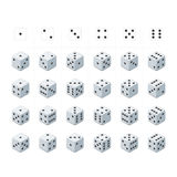 Set of isometric dice vector. Royalty Free Stock Images