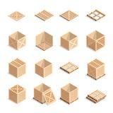 Set isometric drewniani pudełka barłogi i Zdjęcia Stock
