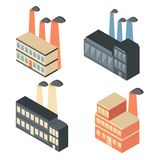 Set of isometric factory icons Royalty Free Stock Photos