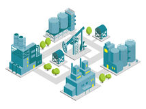 Set of isometric factory illustration oil production. Building industry royalty free illustration
