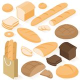 Isometric  bread icons Stock Images
