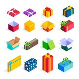 Set of isometric gift boxes  on white background. Bright icons of colorful gifts. 3d open and closed presents with ribbons and bows. Vector illustration Royalty Free Stock Images