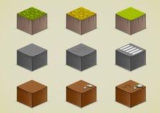 Set of isometric grounds. Set of nine isometric grounds Stock Illustration