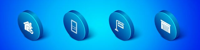 Set Isometric House with check mark, Hanging sign Rent, Garage and Closed door icon. Vector