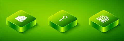 Set Isometric House key, and with icon. Vector