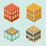Set of 4 isometric houses in flat style. Stock Photos