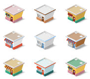 Set of isometric houses. Stock Photo