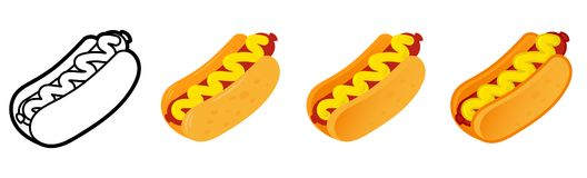 Set hot dog stock illustration