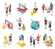 Crowdfunding Isometric Icons Set. Set of isometric icons with creative idea, crowdfunding startup, international financial investment, collect money isolated Royalty Free Stock Images