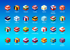 Set of isometric icons with European Union flags Royalty Free Stock Images
