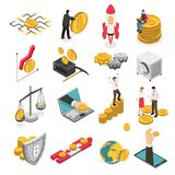 Cryptocurrency Isometric Icons Set Stock Photography