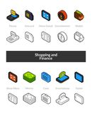 Set of isometric icons in otline style, colored and black versions. Vector symbols - Shopping and finance collection Stock Photo