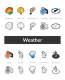 Set of isometric icons in otline style, colored and black versions Royalty Free Stock Photo