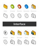Set of isometric icons in otline style, colored and black versions Stock Images