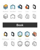 Set of isometric icons in otline style, colored and black versions Royalty Free Stock Images
