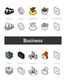 Set of isometric icons in otline style, colored and black versions. Vector symbols - Business collection Royalty Free Stock Photos