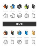 Set of isometric icons in otline style, colored and black versions Stock Photo