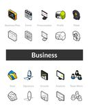 Set of isometric icons in otline style, colored and black versions. Vector symbols - Business collection Stock Images