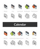 Set of isometric icons in otline style, colored and black versions Stock Photos