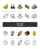 Set of isometric icons in otline style, colored and black versions. Vector symbols - Farm and farming collection Royalty Free Stock Photography
