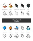 Set of isometric icons in otline style, colored and black versions. Vector symbols - Shopping and finance collection Stock Images