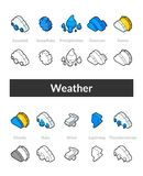 Set of isometric icons in otline style, colored and black versions Stock Image
