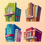 Set of isometric illustration of buildings cinema in cartoon style Royalty Free Stock Photography