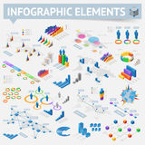 Set of isometric infographics design elements Royalty Free Stock Photos
