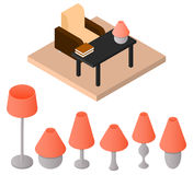 A set of isometric lamps. Table and floor lamp. A piece of furni Royalty Free Stock Images