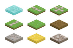 Set of isometric landscape design tiles with different surfaces. Grass, water, dirt, stone, pavement and parts for creating path royalty free illustration