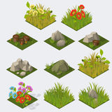 Set of Isometric landscape Tiles. Set of Isometric Tiles grass flowers stones stomps Stock Photos