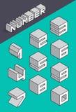 Set isometric liczby Zdjęcie Stock