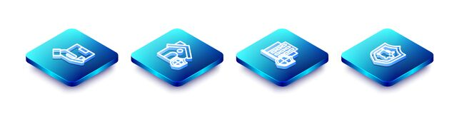 Set Isometric line Delivery insurance, House with shield, and Piggy bank icon. Vector