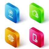 Set Isometric line Location service, House, Bacteria and Mobile icon. Vector