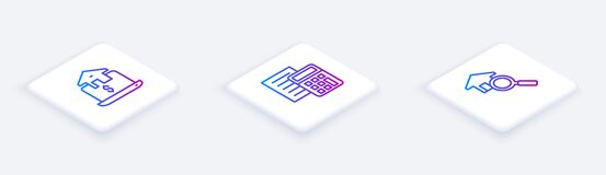 Set Isometric line Online real estate, Calculator and Search house. White square button. Vector