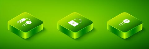 Set Isometric Lock, Undefined key and House with icon. Vector
