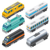 Set of Isometric Locomotives and Waggons Royalty Free Stock Image