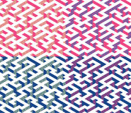 Set of Isometric Maze with blue and pink edges decorated with flat maze ornament. Stock Image
