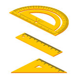 Set of Isometric measuring tools: rulers, triangles, protractor. Vector school instruments isolated. Set of Isometric measuring tools: rulers, triangles Royalty Free Stock Photography