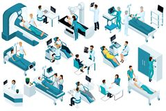 Set Isometric, medical workers and patients, hospital bed, MRI, X-ray scanner, ultrasound scanner, dental chair, operating room stock illustration