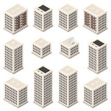Set of isometric modern beige buildings Stock Photography