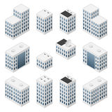 Set of isometric modern white buildings Stock Images