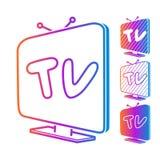 Set isometric nowożytne colour TV ikony, odizolowywający na bielu wektor royalty ilustracja