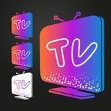 Set isometric nowożytne colour TV ikony, odizolowywający na czerni wektor royalty ilustracja